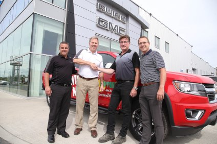 The winner Of the 2015 Chevy Colorado in the  Terry Ames Care Fund and Northern Cancer Foundation's Cancer Support Draw from Crosstown Chevrolet is Kyle Bradley, here being congratulated by  Vince Pollesel Dealer Principal, as sales manager Don Collin and Terry Ames look on. The winner of the HOT Tub from Aquacade Pools & Spas Ltd is Mark Ranta from ...Lively. The winner of the Leather Chair from Querney's Office Plus is Bish Bera and the winner of the foursome at Timberwolf Golf Club is Doris Duguip   A total of $70,000 was raised to help local families battling Cancer.. Gino Donato/Sudbury Star/Postmedia Network